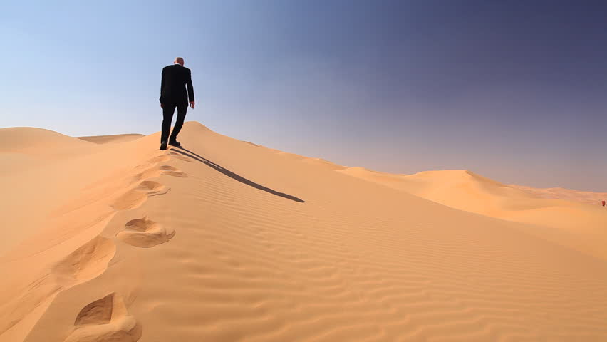 businessman jubilating in the middle of the desert - HD stock video clip