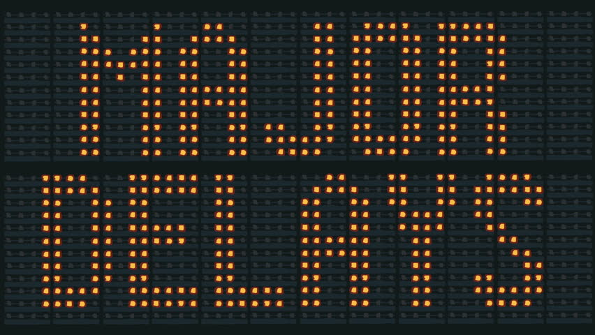 Animation of flashing urban traffic congestion sign saying Major Delays