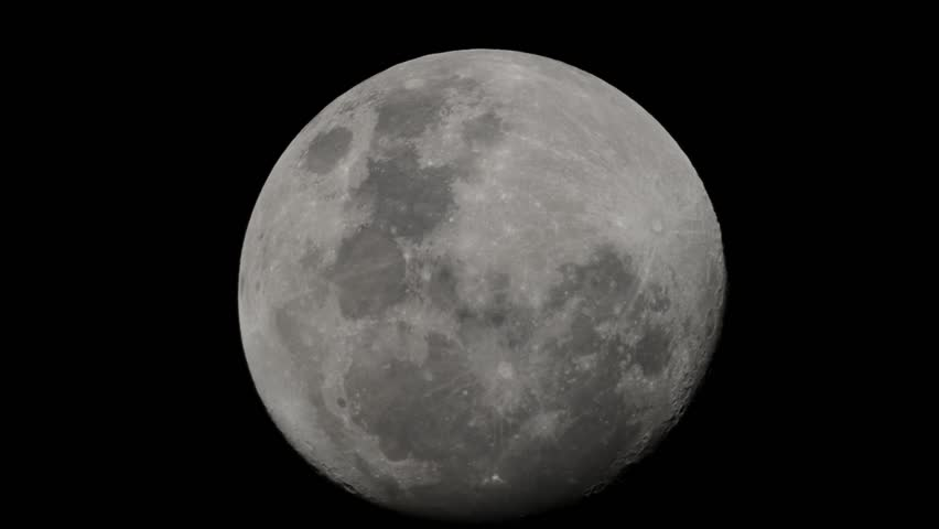 Full moon footage shot using telescope with camera - HD stock video clip