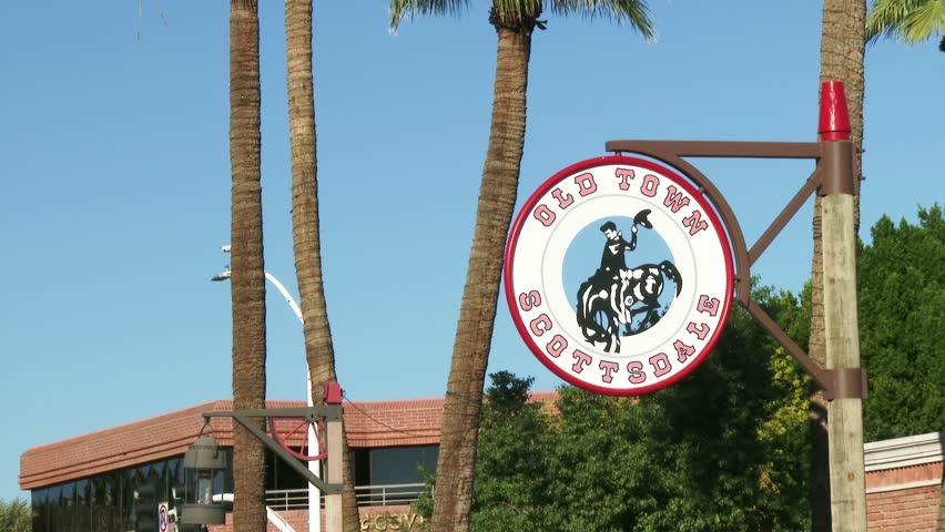 SCOTTSDALE, ARIZONA  DECEMBER 23:  Old Town Scottsdale sign in historic Scottsdale, Arizona on December 23, 2013. - 4K stock video clip