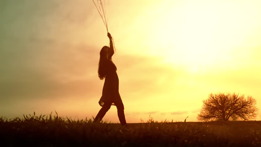 Joyful Young Woman Walking Meadow Balloons Sunset Happy