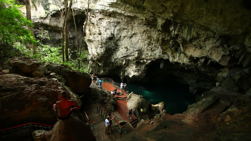 Cave Visiting - HD stock video clip