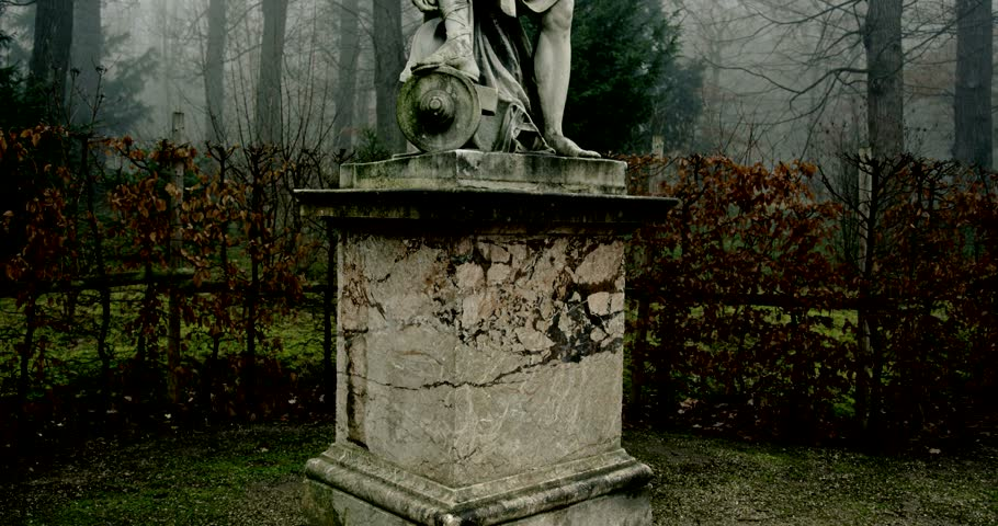 Vienna, Austria, January 2014 - A Dark Schoenbrunn with statues in the morning
