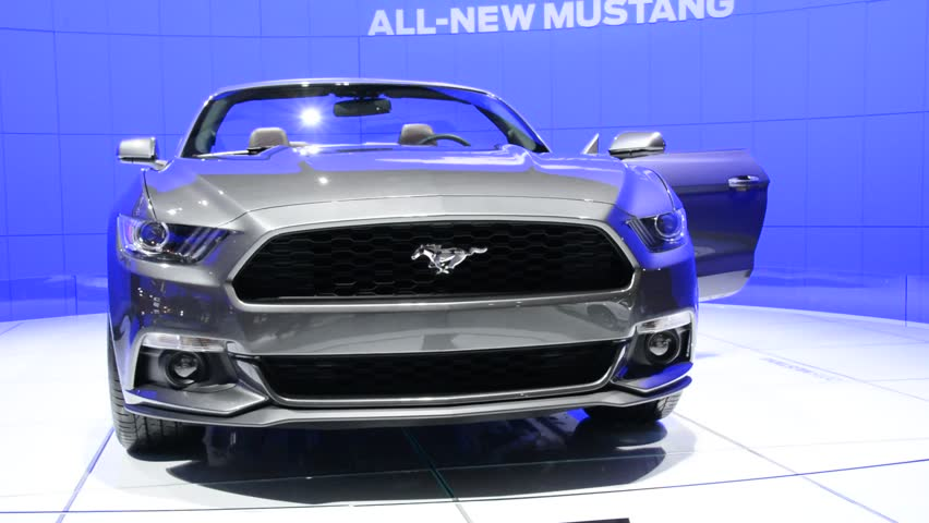 TORONTO,CANADA-FEBRUARY 22, 2014:Ford Mustang 2015 in the Canadian International Auto Show . The largest auto show in Canada showcases more than 1000 new cars motorcycles and more.