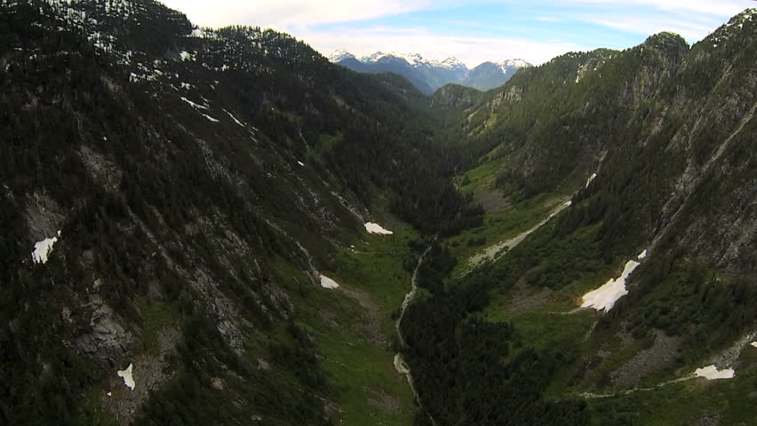 Aerial view remote mountain valley evergreen spruce forest wilderness area, Canada - Aerial view remote mountain valley forest wilderness, Canada #5990009
