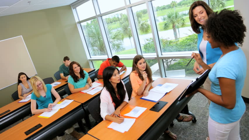 Modern Classroom With Students : Classroom male female multi ethnic teenage students in
