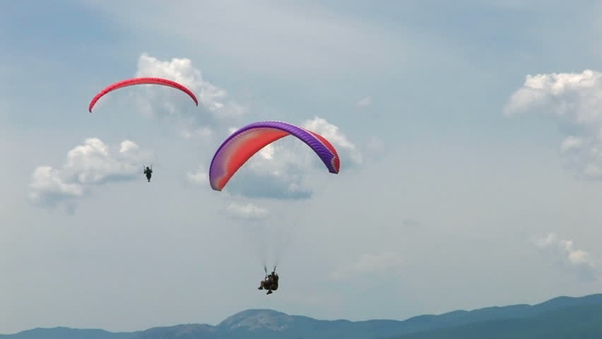 HD paragliding in blue sky