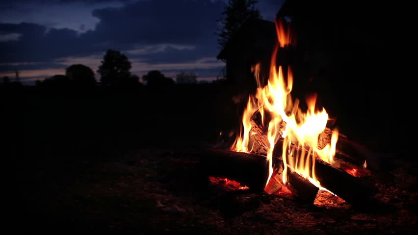 Campfire wide shot - HD stock footage clip