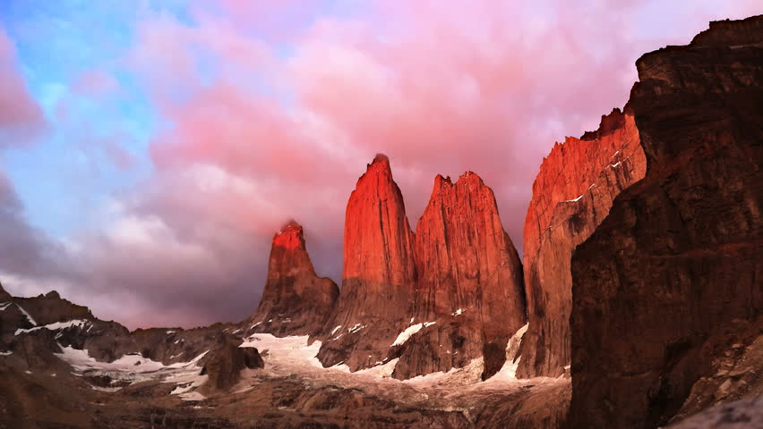 Torres del Paine sunrise - HD stock footage clip