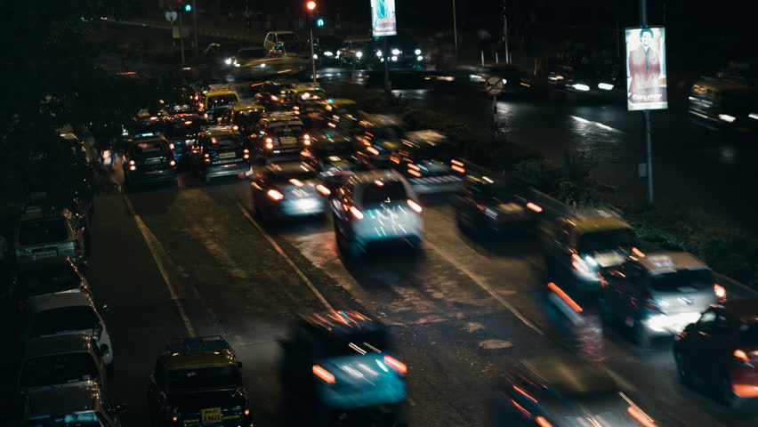 Mumbai Traffic in Night Time Lapse / 1080p ProRes HQ - UHD & 4k resolution available on request.