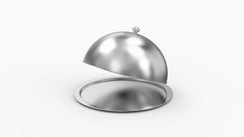 Animation of Opened Silver Tray with place for Your object. HQ Video Clip with Alpha Channel
