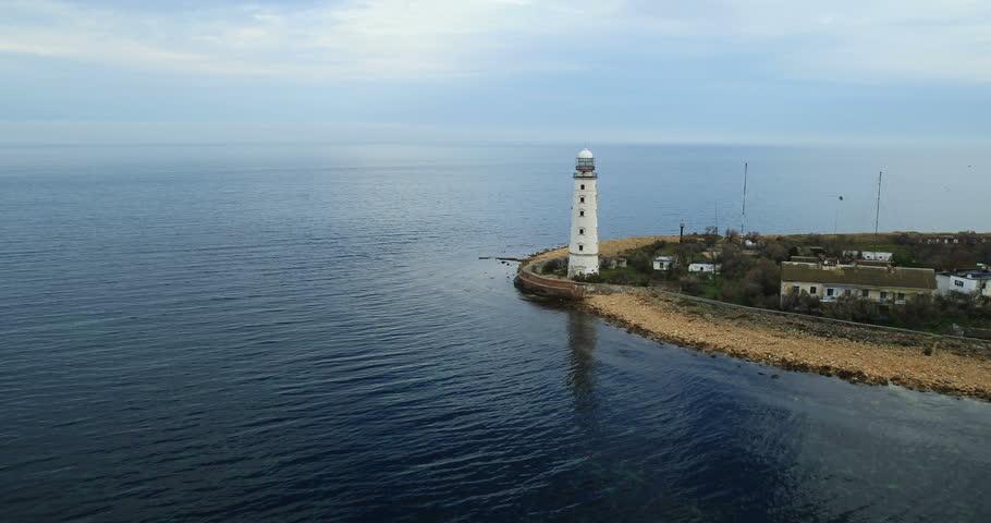 Aerial View: Chersonesus lighthouse, Chersonesus cape, Sevastopol, Crimea. Autumn 2013. - HD stock footage clip