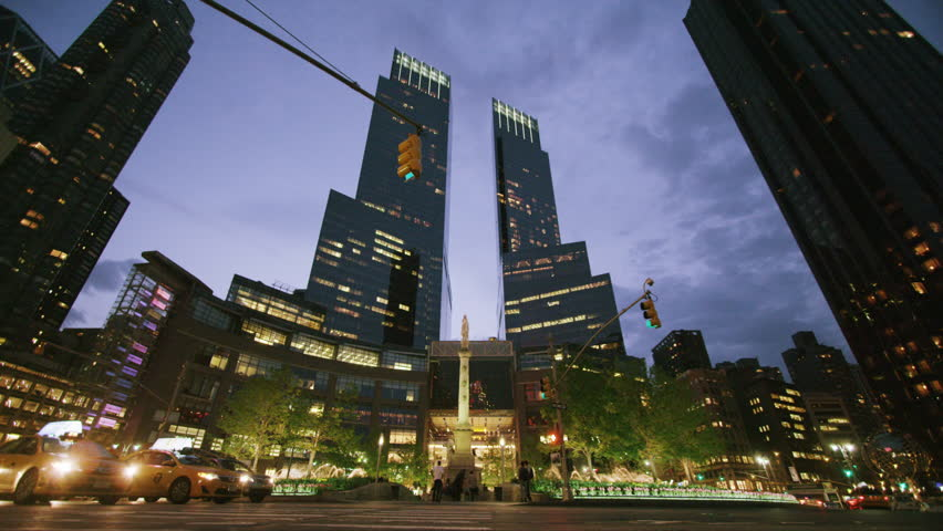 New York USA - September 12, 2013 - Columbus circle NYC night time lapse | Shutterstock HD Video #6031391