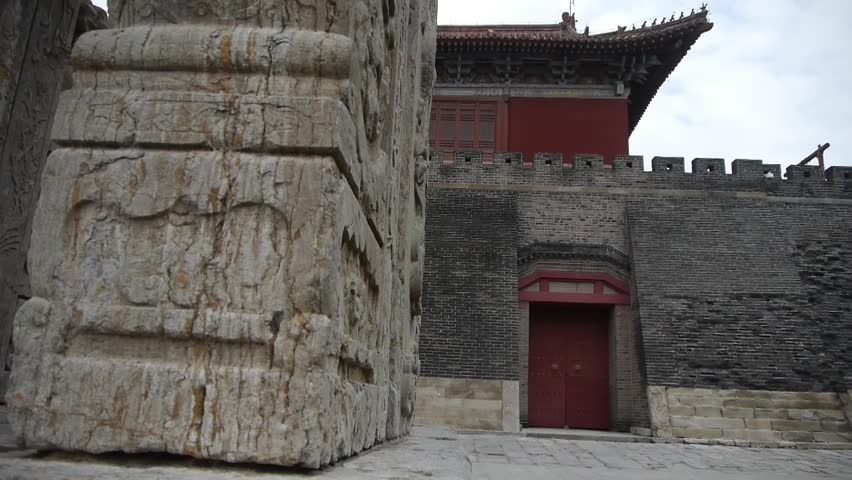 China stone arch building & ancient city gate.stone lions unicorn.  gh2_02919 - HD stock video clip