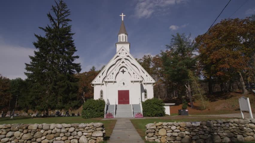 New England Church exterior day - 4K - 4K stock footage clip