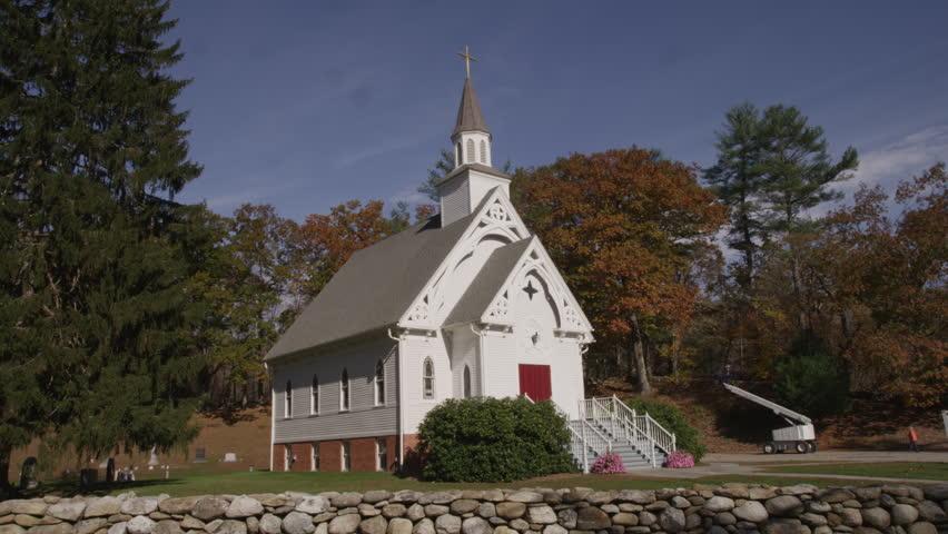 New England Church exterior day - 4K - 4K stock video clip