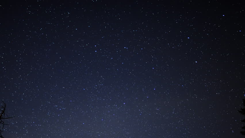 4K Time Lapse of Starry Sky over Alpine Forest -Sky Only-