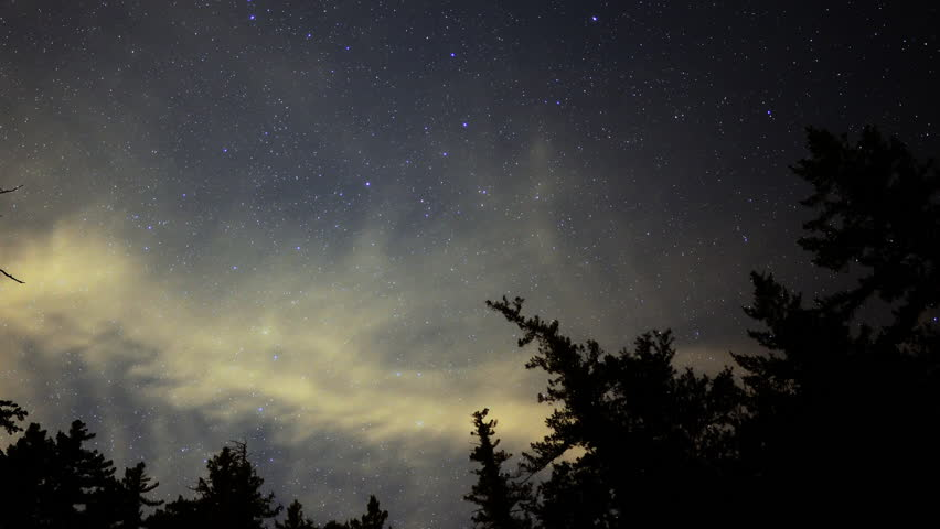 Time Lapse of Starry Sky over Alpine Forest -Pan-