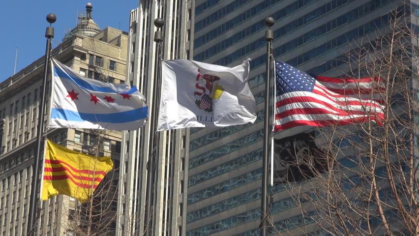 Wind Blowing On Building : Chicago illinois flag wave famous sign emblem symbol