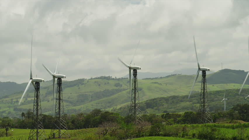 Costa Rica, View of wind turbines - HD stock footage clip