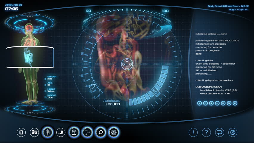 Futuristic digestive system scan. Holographic medical application interface.