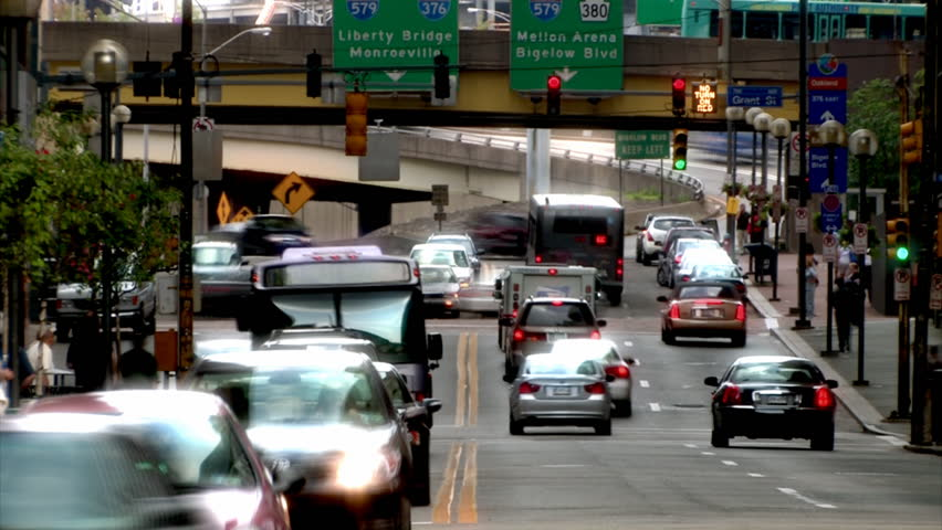 Traffic in downtown Pittsburgh, PA. - HD stock footage clip
