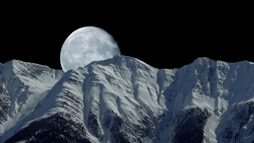winter snow mountain moon - photo #14
