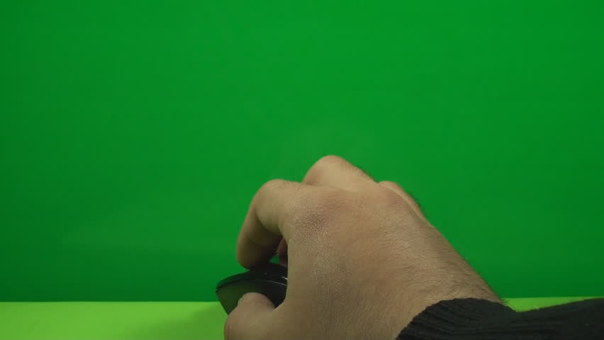 Hand With A Mouse Browsing On A Green Screen, Chroma, Key, Business, Future - HD stock video clip