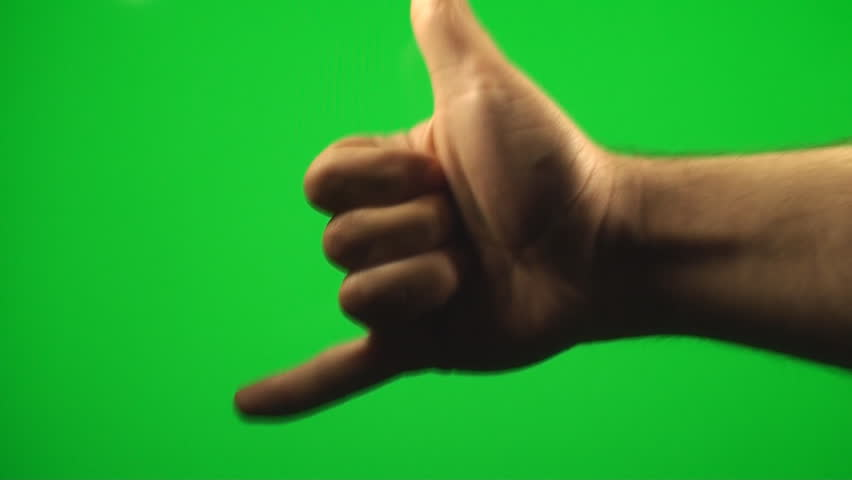 Hand Making The Call Me Sign On A Green Screen, Chroma, Key, Sign, Gesture - HD stock video clip