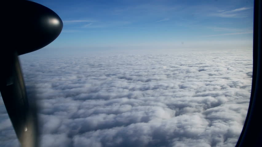 Beautiful view through an Airplane window. Under the Heaven.