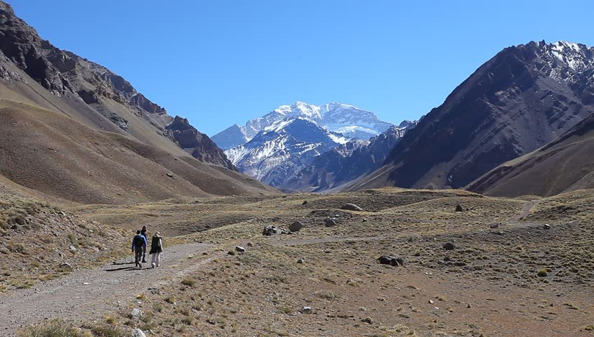 View of the South face of Aconcagua pick from the entrance of the park. Aconcagua Provincial Park, Mendoza, Argentina, South America.  - HD stock video clip