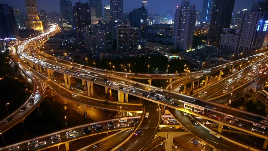 Aerial View of freeway busy city rush hour heavy traffic jam highway,shanghai Yan'an East Road Overpass,Timelapse of driving & cars racing by with streaking lights trail at night. gh2_07405 - HD stock footage clip