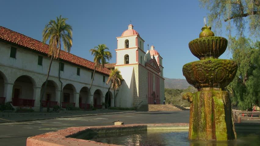 SANTA BARBARA, CALIFORNIA - FEBRUARY 24: The exterior of the historic Old Mission Santa Barbara located in Santa Barbara, California on February 24, 2014. - 4K stock footage clip