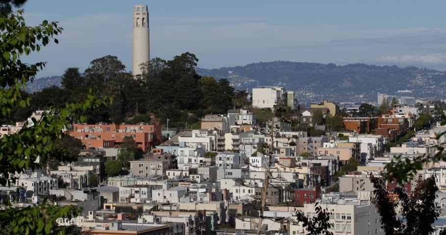 Iconic Telegraph Hill Neighborhood San Francisco Skyline Cityscape California US ( Ultra High Definition, Ultra HD, UHD, 4K, 2160P, 4096x2160 ) - 4K stock footage clip