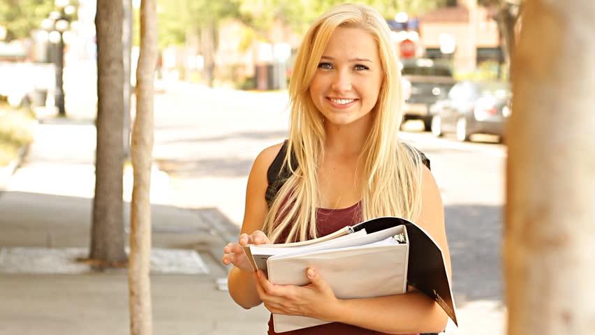 Blonde college student