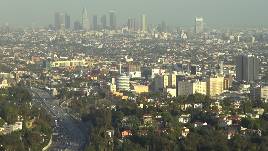 Timelapse of Los Angeles panorama, aerial view of downtown with busy highway by day, USA    Shutterstock HD Video #6181619