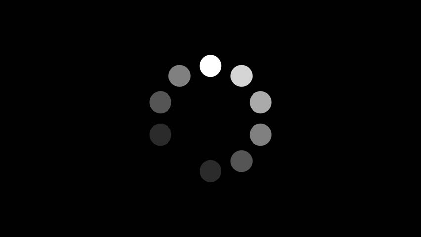 Loading Circle w/ Alpha (30fps). Ten animated dots fading in and out in sequence creating a rotating effect. Rendered large with an alpha channel to layer on top of other elements and footage.