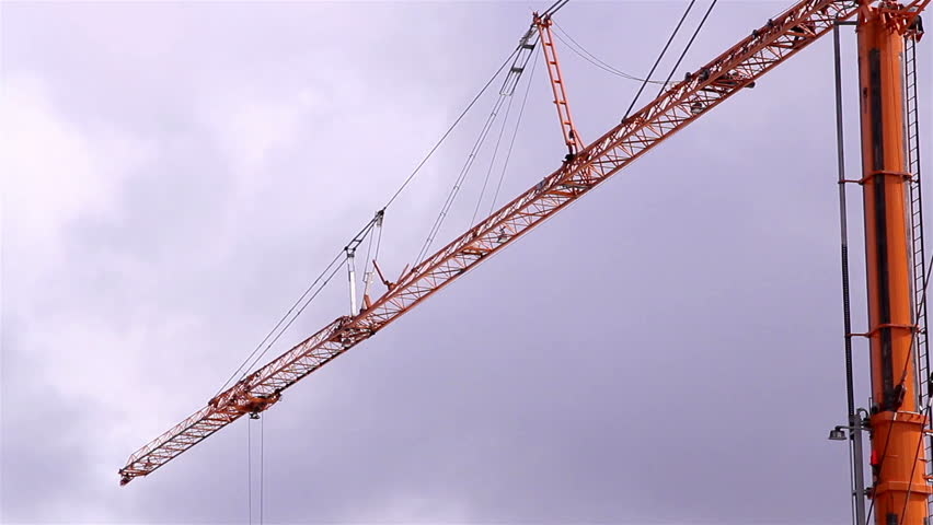 The metal huge crane with some wires and pulleys for transferring cargo - HD stock footage clip