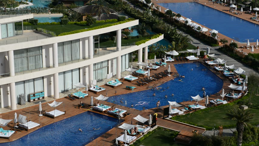 The Swimming Pool Near Beach At The Luxury Hotel Antalya Turkey Stock Footage Video 6223370