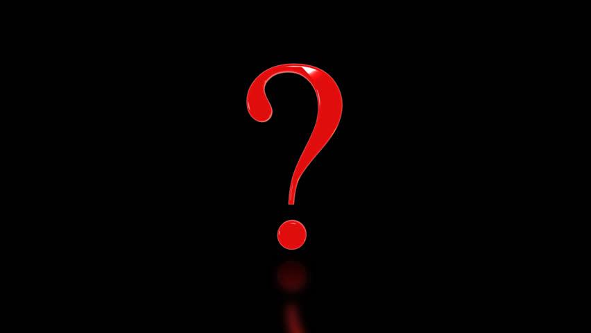 Three Dimensional Rotating Question Mark Symbol Stock