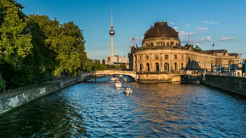 Museum Island on Spree River and Alexanderplatz TV Tower, Timelapse Video, Berlin, Germany | Shutterstock HD Video #6242423
