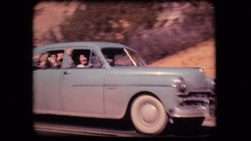 Vintage home movie film family vacation car driving 1950s