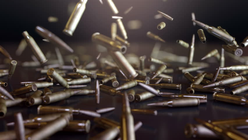 Bullets Falling. High quality animation of bullets falling. Animation in super slow motion, best as a background for Your movie, event, videoclip.