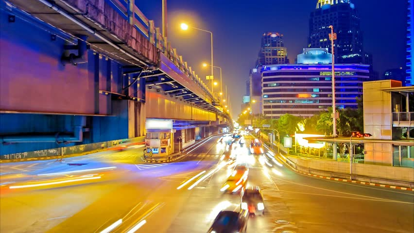 Traffic in city at night with car speed. | Shutterstock HD Video #6290762