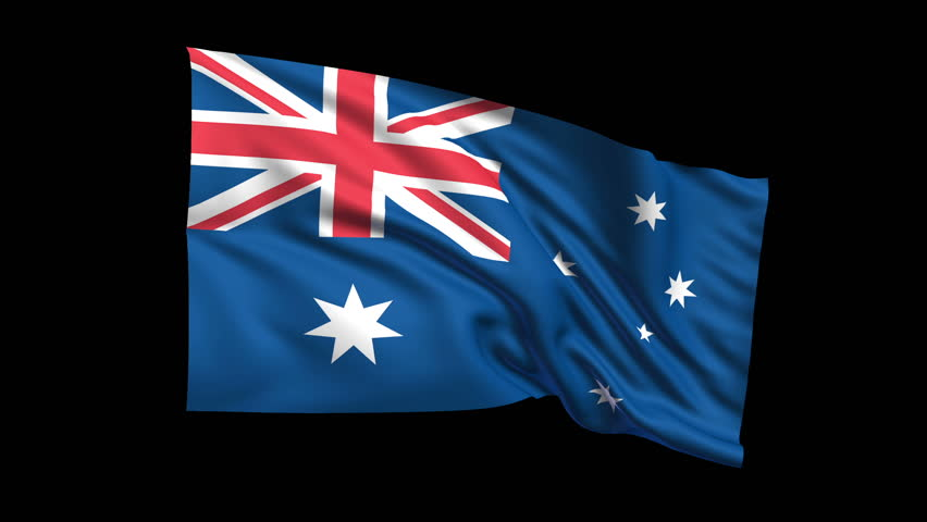 Seamless looping Australia flag waving in the wind (Alpha channel is included)  - HD stock footage clip
