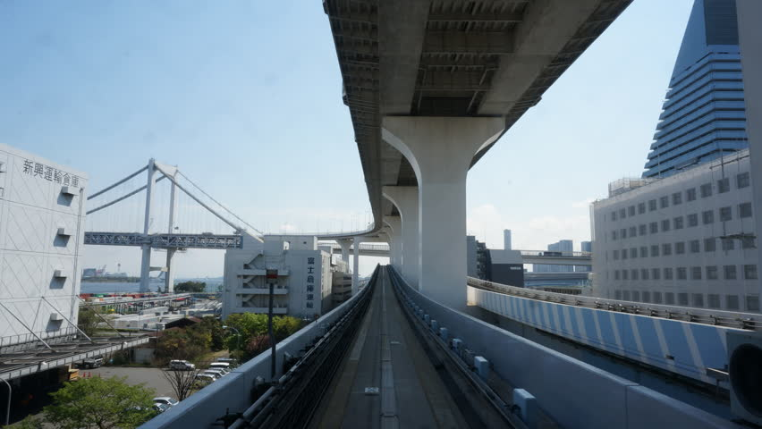 TOKYO - APRIL 14:Timelapse of automated transit service in Yurikamome line on April 14, 2014 in Tokyo, Japan.