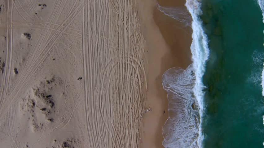 Aerial view of Mediterranean Sea beach, Israel. top view - HD stock video clip