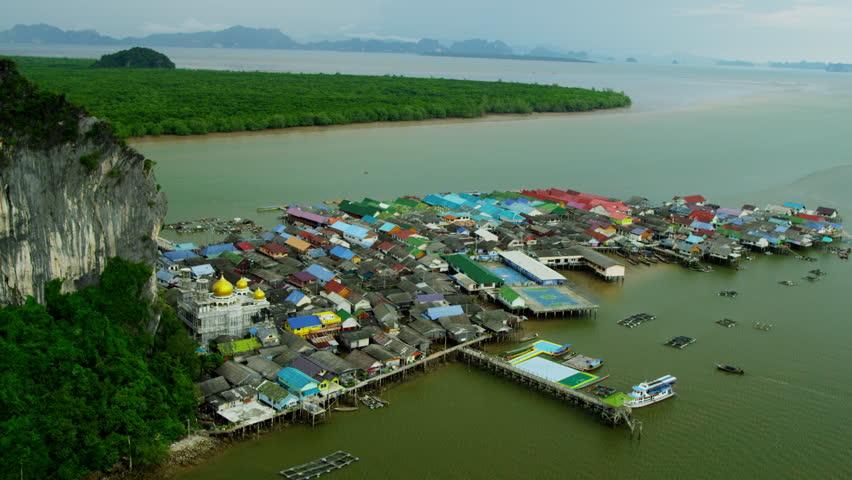 Aerial Landscape View Koh Panyee Village And Ao Phang Nga ...