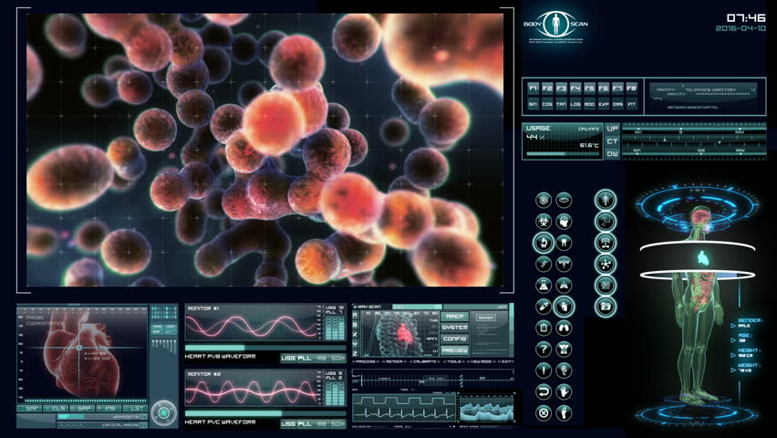 Dynamic cells multiplying. Futuristic medical software interface.
