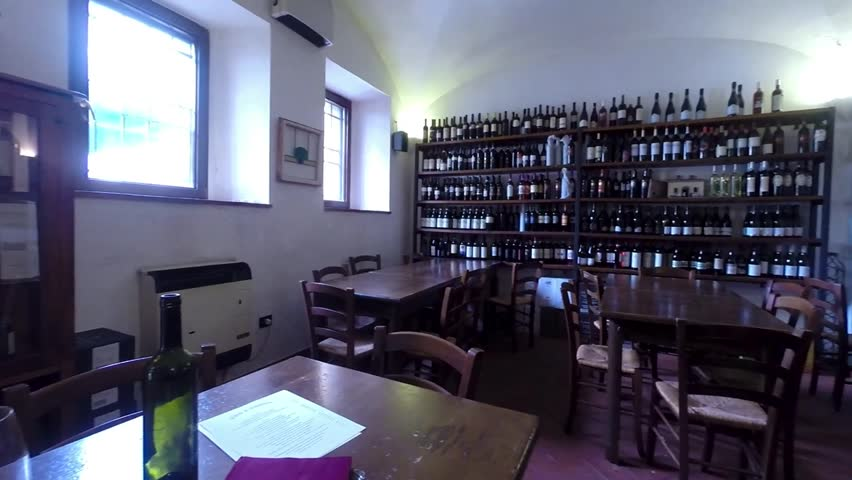 BRACCIANO, LAZIO, ITALY - MAY 13, 2014: The restaurant Vino e Camino, located in the square of the castle in Bracciano, distinguished by a creative cuisine, with great attention to the quality.